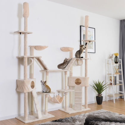 Condo Scratching Posts Cat Tree with Ladder Hammock