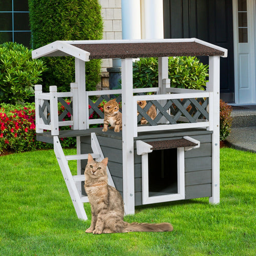 2-Story Indoor/Outdoor Weatherproof Wooden Cat House