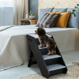 4-Step Wooden Ramp Carpeted Pet Stairs with Handle