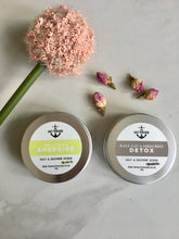 Load image into Gallery viewer, Eco friendly, made in the uk, cruelty free, natural skincare gift. Detox, dead sea salt scrub with Vanilla fragrance and Sandalwood Essential oil. Energise dead sea salt scrub with Lime essential oil.
