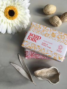 Responsibly sourced cold pressed, certified Organic Soap gift. Rose Geranium soap with Organic Rose Geranium. Lemongrass and Bergamot essential oils. Milk and Honey soap gift with Coconut milk and Honey.