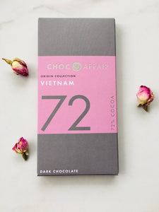 Ethical, hand made, artisan 72% dark chocolate gift using sustainably grown cocoa, suitable for vegans