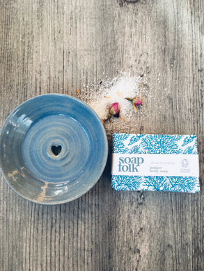 Soft Sea Blue Ceramic Soap Dish & Juniper Berry Handmade Soap Gift