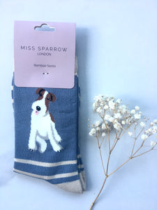 Women's Blue and Beige Stripes Fox Terrier Bamboo Socks