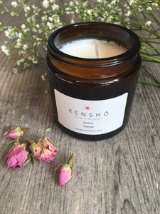 Serenity Soy Wax Hand poured Essential Oil Luxury Candle 120ml by Kensho Lavender Essential Oil