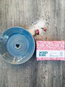 Soft Sea Blue Soap Dish & Rose Geranium Handmade Soap Gift