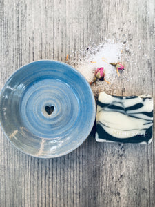 Soft Sea Blue Ceramic Soap Dish