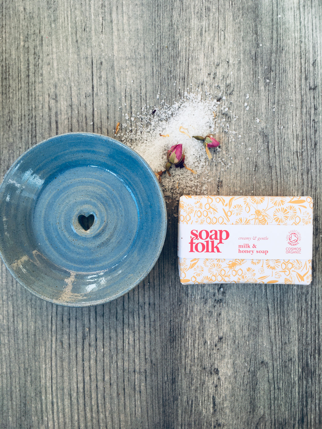 Soft Sea Blue Soap Dish & Milk and Honey Handmade Soap Gift Box