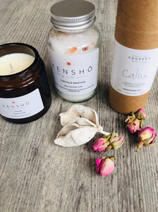Calm Mood Gift Box contains Handmade Essential Oil Soy Wax Candle Gift By Kensho, Handmade Essential Oil Bath Salts By Kensho, Coopers Calm Room Spray