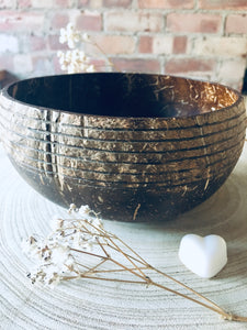 Stripy Coconut Bowl with Wooden Spoon