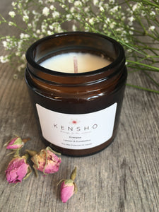 Energise Soy Wax Hand Poured Essential Oil Luxury Candle 120ml by Kensho Lemon and Eucalyptus Essential Oils
