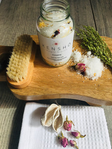 Energising Handmade Luxury Bath salts 125g by Kensho Dead sea salts, Pink Grapefruit, Lime & Rosemary Essential Oils