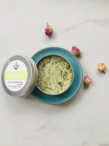 Eco friendly, made in the UK, cruelty free, natural skincare gift. Dead sea salt with Coconut oil and Lime essential oil.