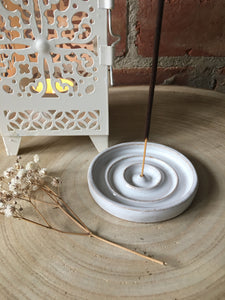 Hand Made Fully Glazed White Ceramic Incense Holder