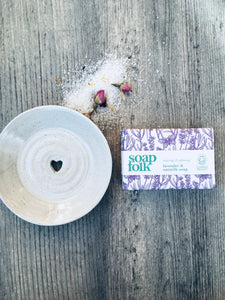 Ivory Ceramic Soap Dish & Lavender and  Oatmilk Handmade Soap Gift