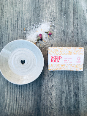 Ivory Ceramic Soap Dish & Milk and Honey Handmade Soap Gift Box