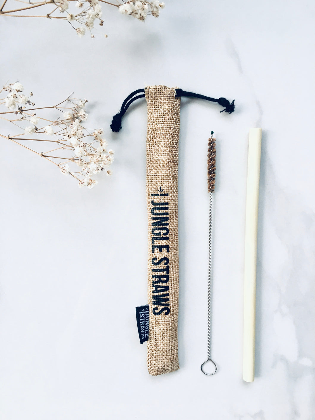 Bamboo Straw, Straw Cleaning Brush and Natural Jute Bag