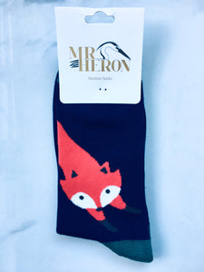 Men's Navy Fox Bamboo Socks