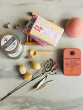 Load image into Gallery viewer, Eco friendly, sustainable products such as Natural soaps from Soap Folk, Natural Salt Scrubs from The Salt Parlour and Rosewood Hand cream from The Edinburgh Natural Skincare Company for our Ethical Pamper Wellness Gift Box