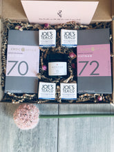 Load image into Gallery viewer, Afternoon Tea Gift Set, Handmade Dark Chocolate, Organic Tea, Lavender Essential oil Soy Candle