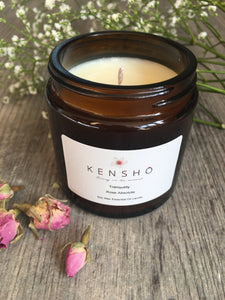 Tranquility Soy Wax Hand Poured Essential Oil Luxury Candle 120ml by Kensho Rose Absolute Essential Oil