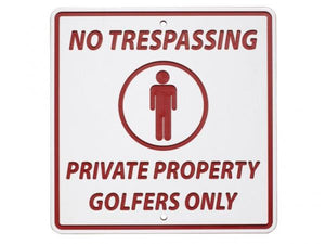 Greenline information sign NO TRESPASSING - GOLFERS ONLY