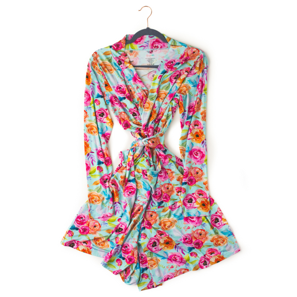 Tessa Teal Floral Mommy Robe