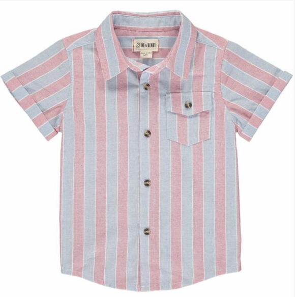 Red and Cream Striped Woven Button Up Boys Shirt