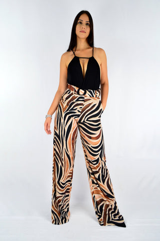 Printed Wide Pants with Belt | Buy It