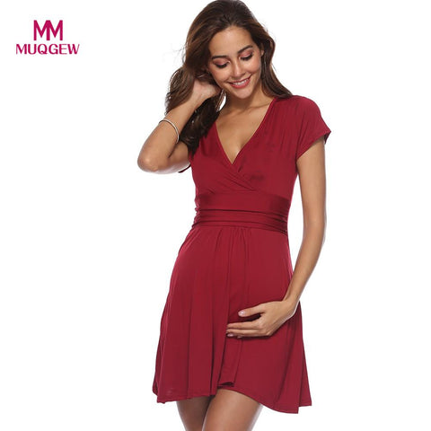 Fashion Maternity Dress Pregnant Women Summer