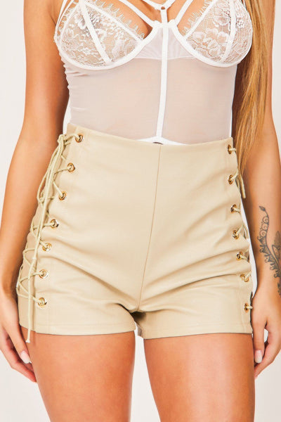 Sand Lace-Up High Waisted Shorts