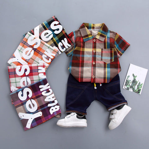 Fashion Toddler Baby Boy Gentleman Plaid
