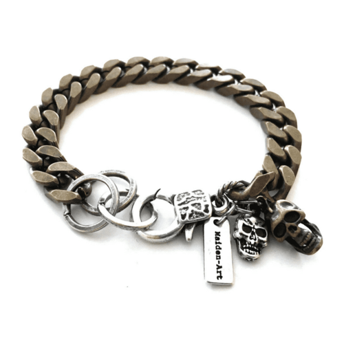 Silver skull and chain mens bracelet. Mens gift,