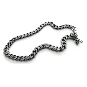 Silver skull and chain mens necklace. Mens gift,