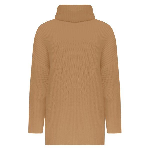 BASIC KNITTED COL SWEATER CAMEL-SWEATER-Le Musthave