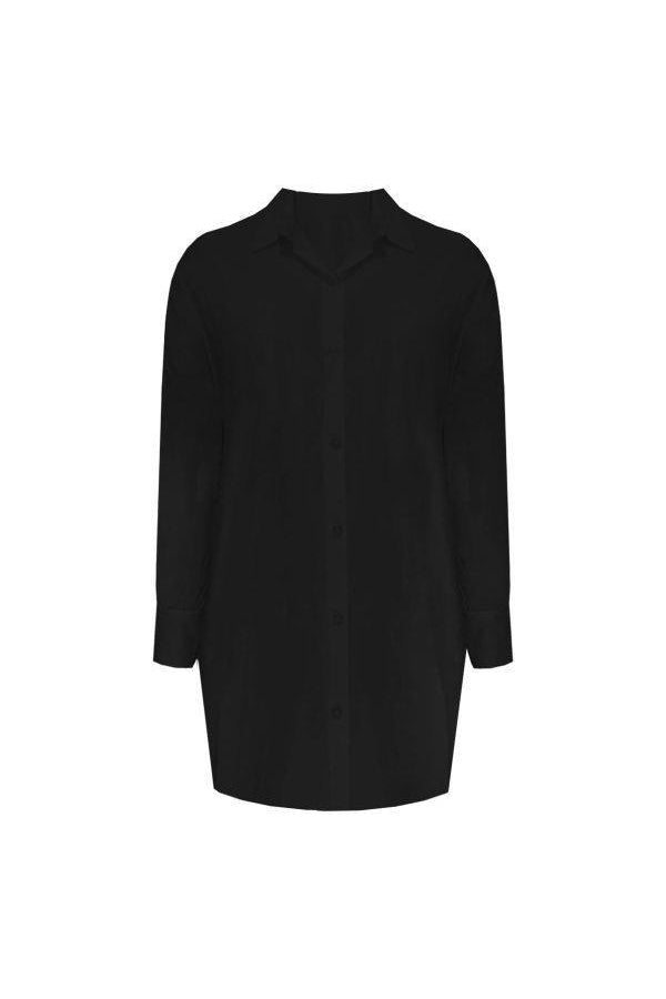 BASIC LONG BLOUSE BLACK-Le Musthave
