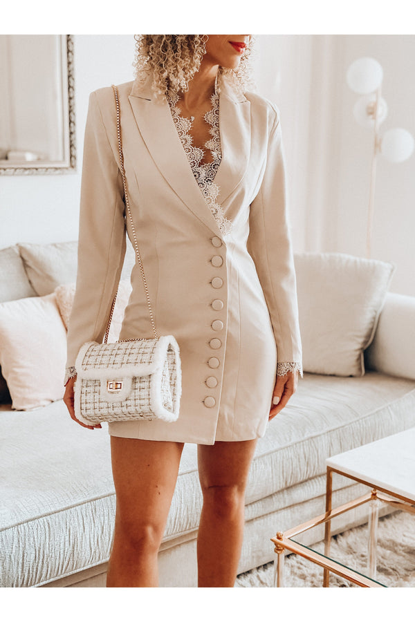 BLAZER DRESS LACE BEIGE-dress-Le Musthave