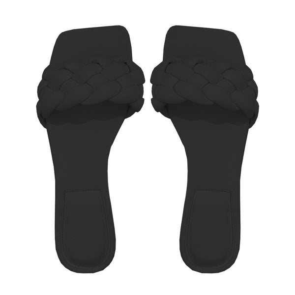 BRAIDED BLACK SLIPPERS-SHOES-Le Musthave