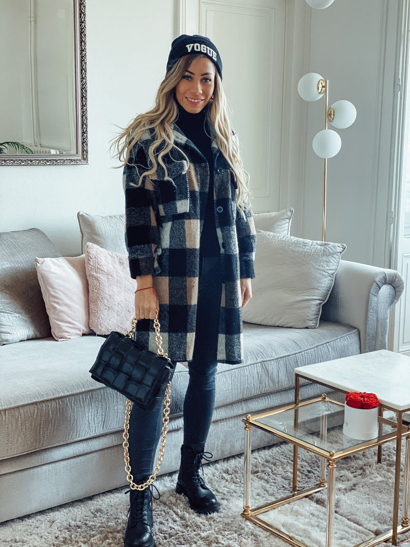 CHECKERED COAT FRINGE CAMEL-JACKETS-Le Musthave
