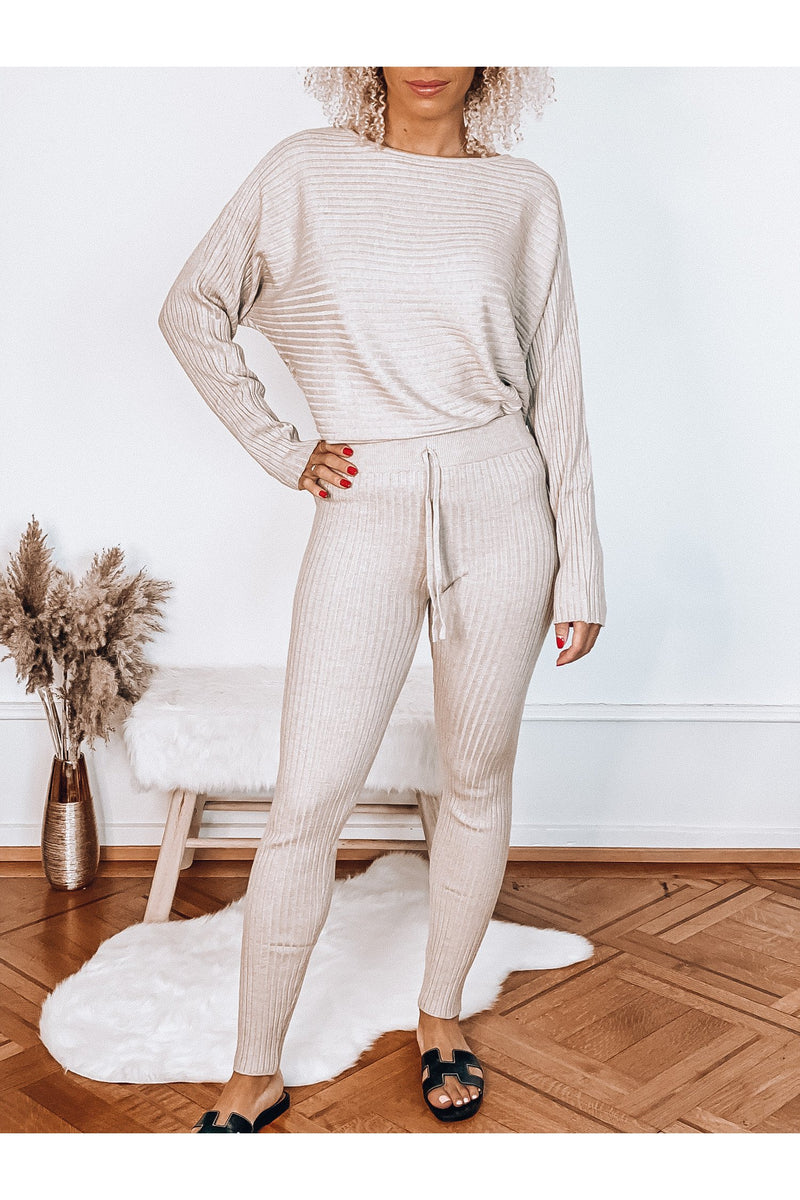 COMFY RIBBED SET BEIGE-Le Musthave
