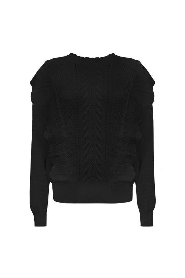 EMMA RUFFLE SWEATER BLACK-sweater-Le Musthave