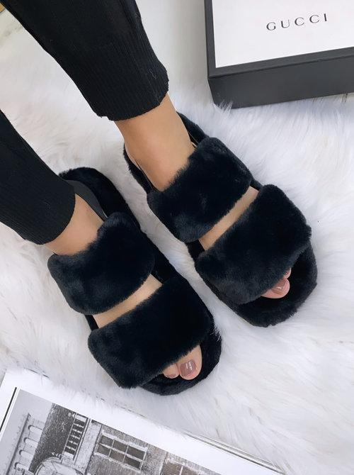 FLUFFY SLIDES BLACK-SLIPPERS-Le Musthave