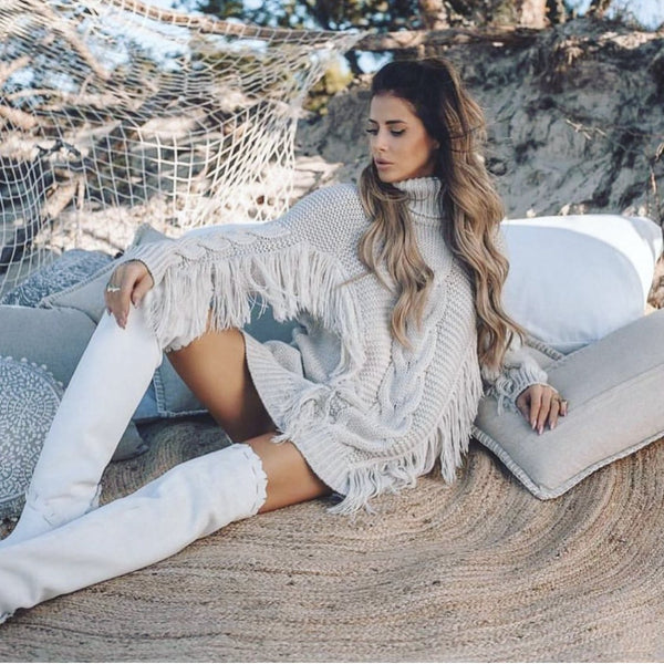 FRINGE SWEATER GREY-SWEATER-Le Musthave