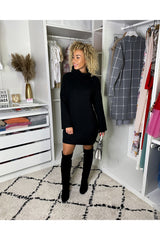 KNITTED BLACK SWEATER DRESS-dresses-Le Musthave