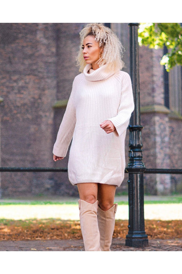 KNITTED OFF WHITE SWEATER DRESS-dresses-Le Musthave
