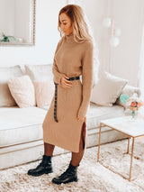 MELODY SWEATER DRESS TAUPE-DRESSES-Le Musthave