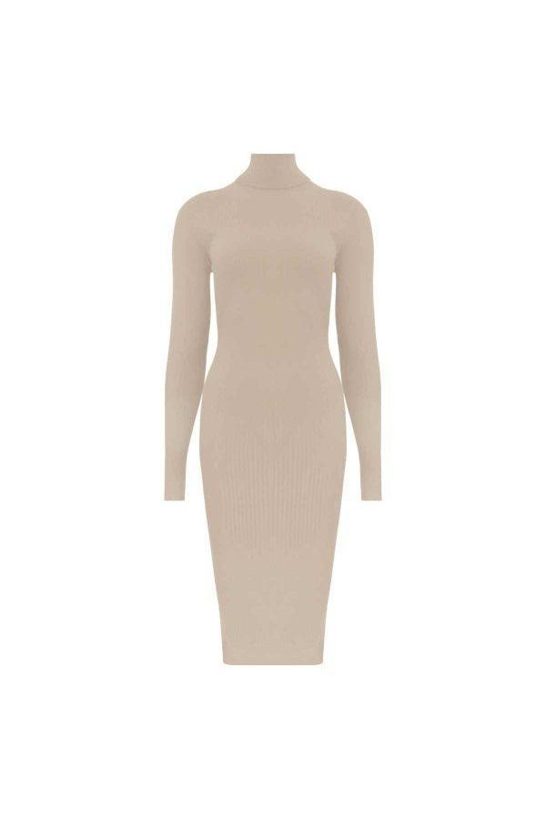 RIB COL DRESS BEIGE-Dress-Le Musthave