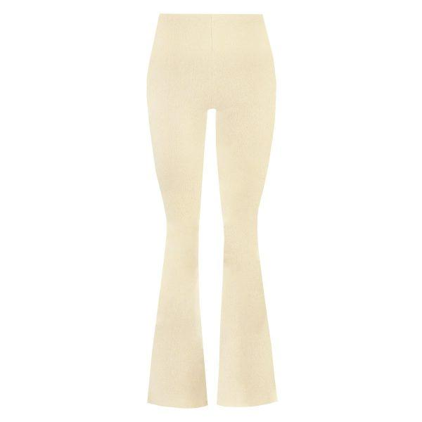 RIB FLARED PANTS BEIGE-PANTS-Le Musthave