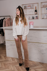 RIB FLARED PANTS CAMEL-PANTS-Le Musthave