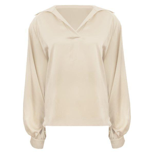 SILK BALLOON SLEEVE BLOUSE CHAMPAGNE-blouse-Le Musthave